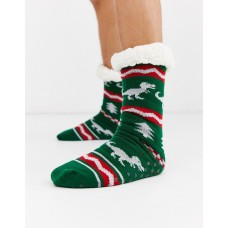 Mens Christmas T rex Slipper Socks - One Pair