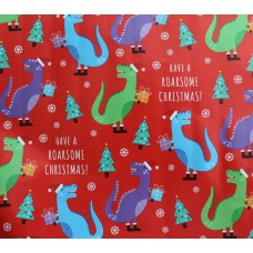 Red T-rex Xmas Gift Wrap Roll 10m
