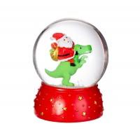 Santa on a T-rex Snow Globe
