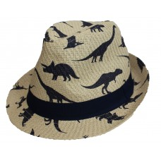 Dinosaur Straw Trilby Hipster Hat - Age 8 -12 Years