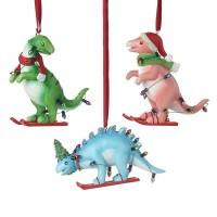 Skiing Dinosaur Tree Ornament