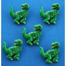 Dinosaur Buttons - Green T-rex  28mm