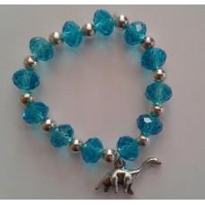 Blue Crystal Bracelet with Dinosaur Charm
