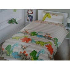 Dinosaur Taupe/Ivory Duvet Cover - Single Size