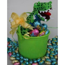Green Dinosaur Easter Basket with Eggs