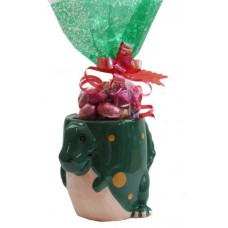 Green T-rex Mug with Chocolate Eggs