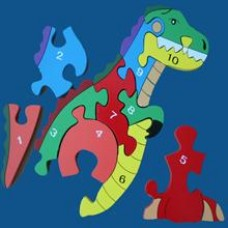 T-rex Shaped Wooden Number Puzzle