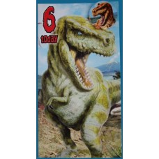 T-rex Birthday BADGE Card - AGE 6