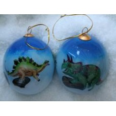 Herbivores Handpainted Glass Ornament
