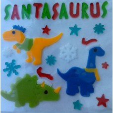 Dinosaur Santasaurus Christmas Window Gels