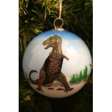 T-rex Handpainted Glass Ornament