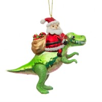 Santa on his T-rex Glass Bauble
