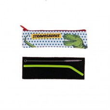 Reuseable Silicone Eco Straw in Dino Travel Case